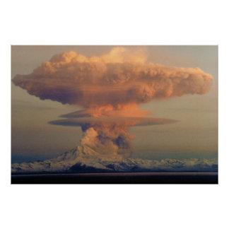 Mushroom Cloud Plume from Mount Redoubt Eruption Poster