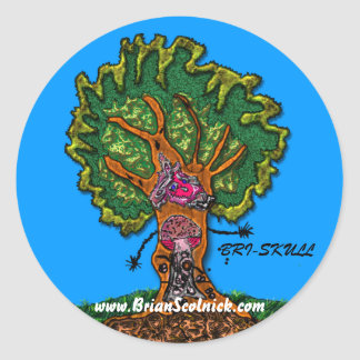 mushroom-door-in-tree round sticker