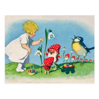 Mushroom Elves Easter Postcard