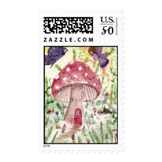 Mushroom Fairy and Butterfly Postage Stamps