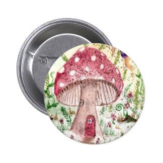Mushroom, Fairy & Butterfly Pinback Button