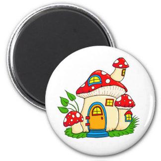 Mushroom fairy house magnet