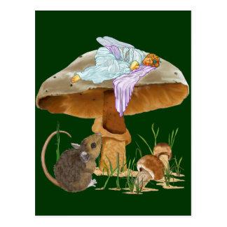 Mushroom Fairy & Mouse Post Card