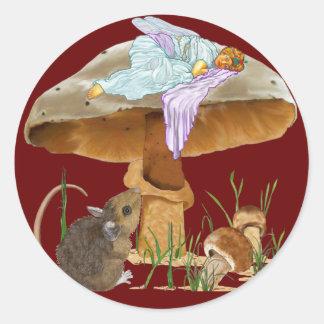 Mushroom Fairy & Mouse Classic Round Sticker