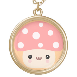 Mushroom Friends Gold Plated Necklace