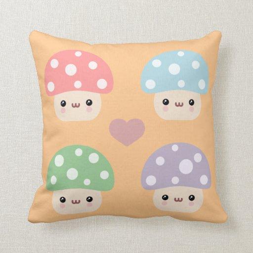 Mushroom Friends Throw Pillow