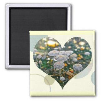 Mushroom Garden Heart Magnet
