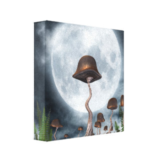 Mushroom Garden Moon Canvas Print