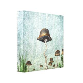 Mushroom Garden Moon Grunge Canvas Print