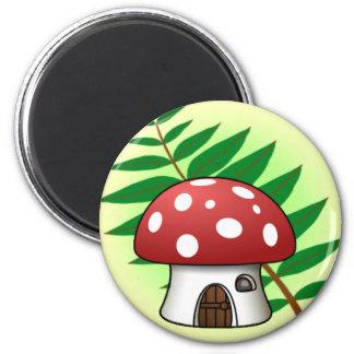 Mushroom House 2 Inch Round Magnet