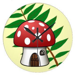 Mushroom House Large Clock