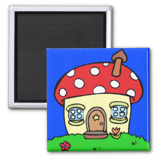 Mushroom house mushroom house 2 inch square magnet