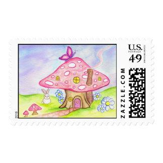 mushroom house postage stamp