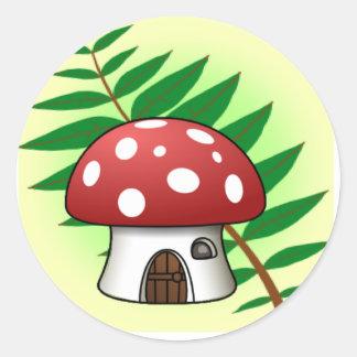 Mushroom House Classic Round Sticker