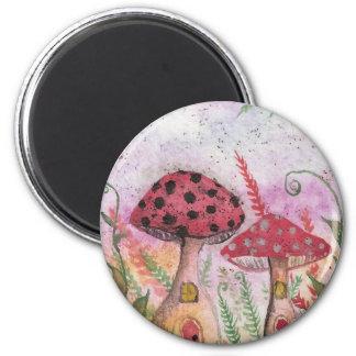 Mushroom Houses 2 Inch Round Magnet