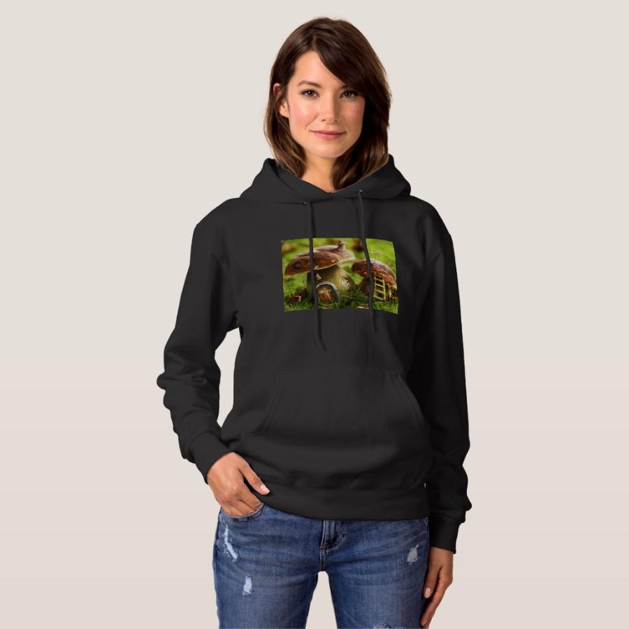mushroom houses hoodie - Durable Women's Outdoor Clothing