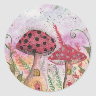 Mushroom Houses Classic Round Sticker