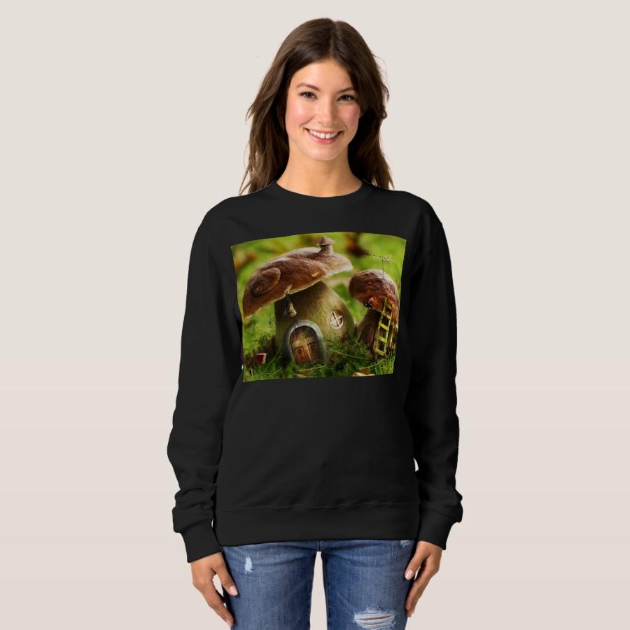 mushroom houses sweatshirt - Durable Women's Outdoor Clothing