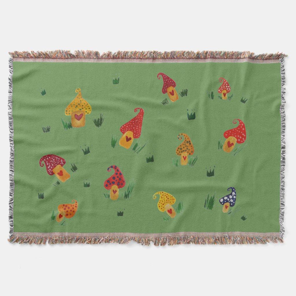Mushroom houses Throw Blanket