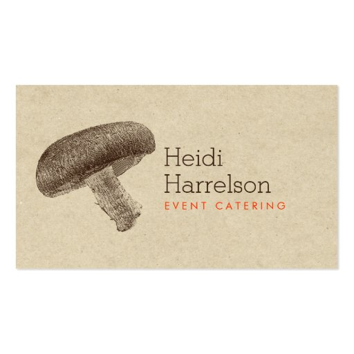 Mushroom Illustration Brown/Tan - Catering, Chef Business Card Templates