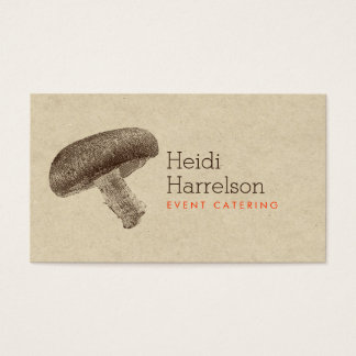 Mushroom Illustration Brown/Tan - Catering, Chef Business Card