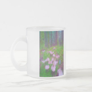 Mushroom in the forest 10 oz frosted glass coffee mug
