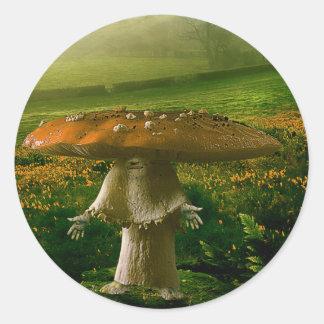 Mushroom Man Round Sticker