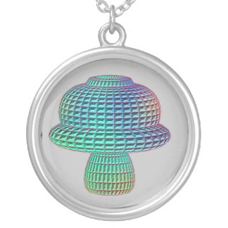 mushroom math shape round pendant necklace