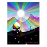 Mushroom mountain fantasy postcard