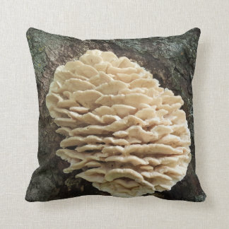 Mushroom on a tree trunk throw pillow
