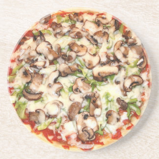 Mushroom Pizza Sandstone Drink Coaster
