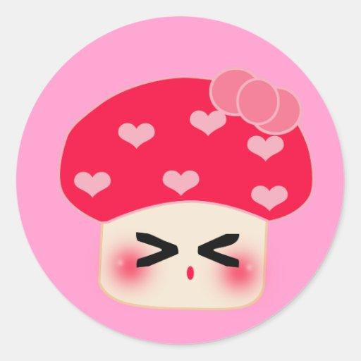 Mushroom Red Heart (mad) Round Stickers
