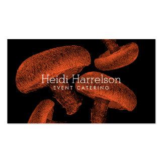 Mushroom Screen-Print Illustration Orange/Black Double-Sided Standard Business Cards (Pack Of 100)