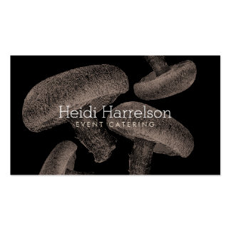 Mushroom Screen-Print Illustration Tan/Black Double-Sided Standard Business Cards (Pack Of 100)