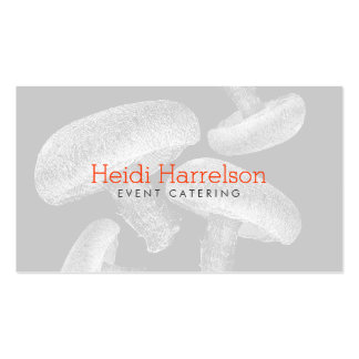Mushroom Screen-Print Illustration White/Gray Double-Sided Standard Business Cards (Pack Of 100)