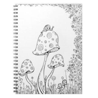 Mushroom Snail Notebook Coloring Book MADART