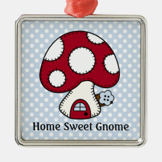 Mushroom Toadstool Fairy House Home Sweet Gnome Square Metal Christmas Ornament