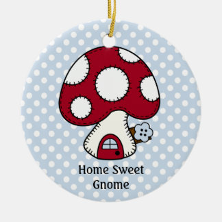 Mushroom Toadstool Fairy House Home Sweet Gnome Double-Sided Ceramic Round Christmas Ornament