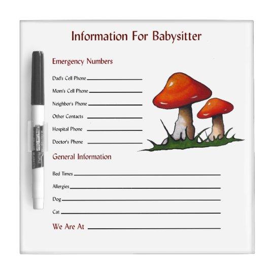 Mushroom, Toadstools: Babysitter Information Dry Erase Board
