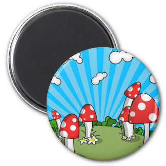 Mushrooms 2 Inch Round Magnet