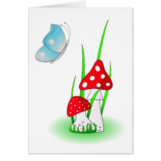 Mushrooms and blue butterfly card