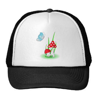 Mushrooms and blue butterfly trucker hat