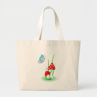 Mushrooms and blue butterfly jumbo tote bag