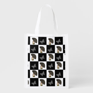 Mushrooms and Butterflies Checkerboard Grocery Bag