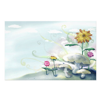 Mushrooms and Flowers Stationery