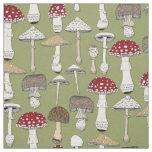 mushrooms fern green fabric