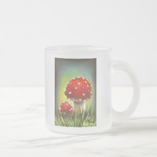 Mushrooms Frosted Glass Coffee Mug