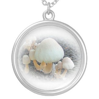 Mushrooms in Mulch - Leucoagaricus americanus Silver Plated Necklace