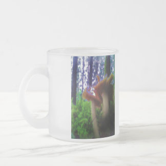 Mushrooms in the forest 10 oz frosted glass coffee mug