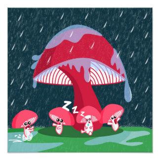 Mushrooms in the rain photographic print